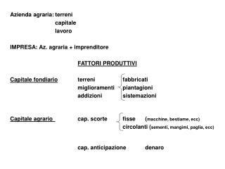 Azienda agraria:terreni capitale lavoro IMPRESA: Az. agraria + imprenditore