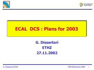 ECAL  DCS : Plans for 2003
