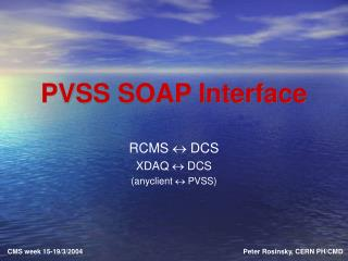 PVSS SOAP Interface