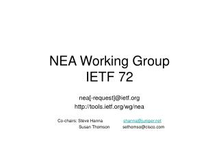 NEA Working Group IETF 72