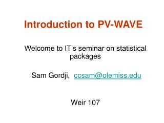 Introduction to PV-WAVE
