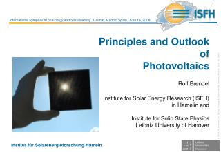 Principles and Outlook  of Photovoltaics