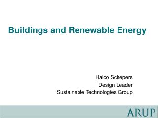 Buildings and Renewable Energy
