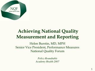 Achieving National Quality Measurement and Reporting