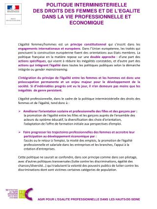 AGIR POUR L'EGALITE PROFESSIONNELLE DANS LES HAUTS-DE-SEINE