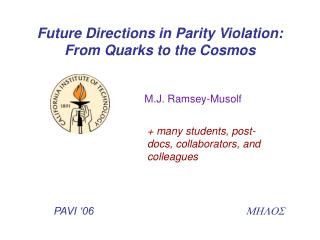 Future Directions in Parity Violation: From Quarks to the Cosmos