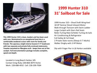 1999 Hunter 310  31' Sailboat for Sale