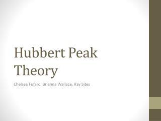 Hubbert Peak Theory