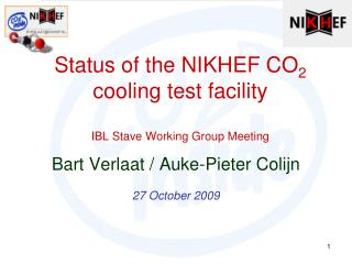 Status of the NIKHEF CO 2  cooling test facility IBL Stave Working Group Meeting