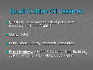 Saudi Arabian Oil Reserves