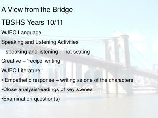 A View from the Bridge TBSHS Years 10/11 WJEC Language Speaking and Listening Activities