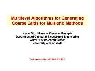 Multilevel Algorithms for Generating Coarse Grids for Multigrid Methods