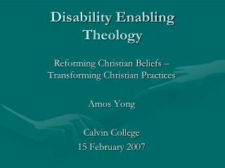 Disability Enabling Theology