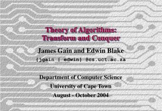 Theory of Algorithms: Transform and Conquer
