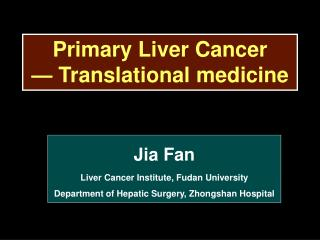Primary Liver Cancer — Translational medicine