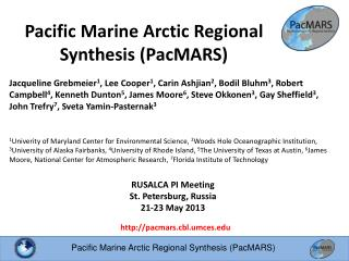Pacific Marine Arctic Regional Synthesis (PacMARS)