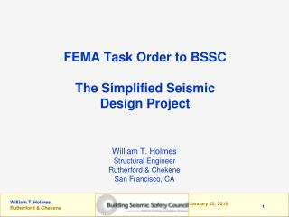 FEMA Task Order to BSSC The Simplified Seismic Design Project