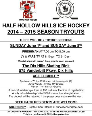 HALF HOLLOW HILLS ICE HOCKEY 2014 – 2015 SEASON TRYOUTS