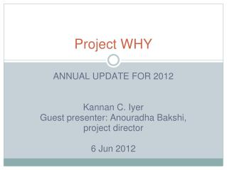 Project WHY