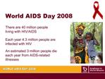Each year 4.3 million people are infected with HIV