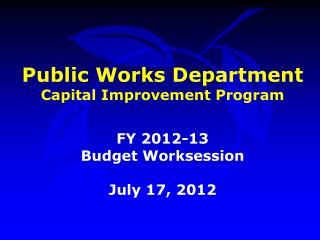 Public Works Department Capital Improvement Program