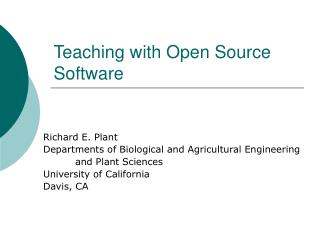 Teaching with Open Source Software
