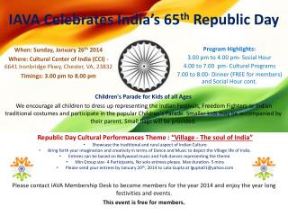 IAVA Celebrates India's 65 th  Republic Day