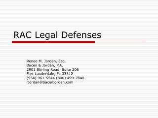 RAC Legal Defenses