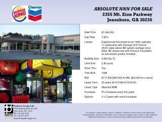 ABSOLUTE NNN FOR SALE 2355 Mt. Zion Parkway Jonesboro, GA 30236