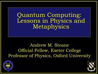 Quantum Computing: Lessons in Physics and Metaphysics