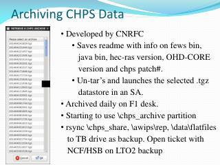 Archiving CHPS Data
