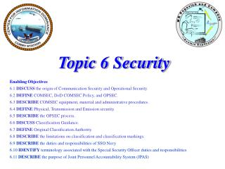 Topic 6 Security Enabling Objectives