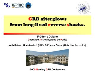 G RB afterglows from long-lived  r everse  s hocks.