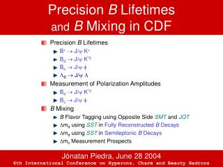 Precision  B  Lifetimes and B  Mixing in CDF