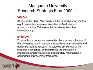 Macquarie University  Research Strategic Plan 2009-11