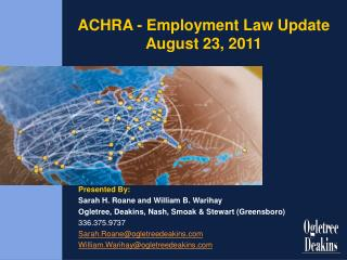 ACHRA - Employment Law Update August 23, 2011