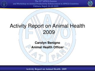 Activity Report on Animal Health   2009