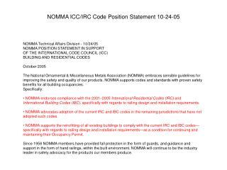 NOMMA ICC/IRC Code Position Statement 10-24-05