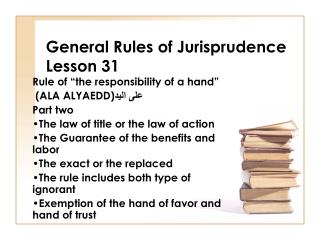 General Rules of Jurisprudence Lesson 31