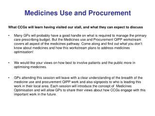 Medicines Use and Procurement