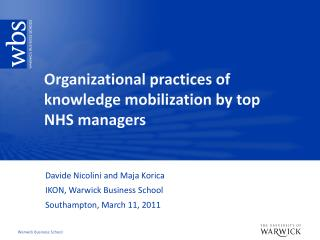 Organizational practices of knowledge mobilization by top NHS managers