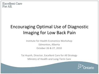 Encouraging Optimal Use of Diagnostic Imaging for Low Back Pain