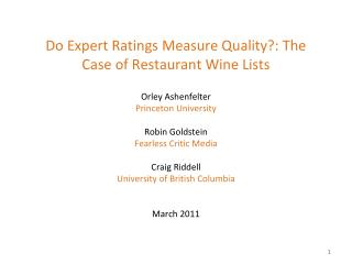 Do Expert Ratings Measure Quality?: The Case of Restaurant Wine Lists