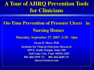 A Tour of AHRQ Prevention Tools for Clinicians