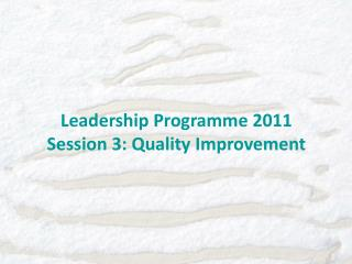 Leadership Programme 2011 Session 3: Quality Improvement