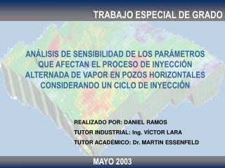 REALIZADO POR: DANIEL RAMOS TUTOR INDUSTRIAL: Ing. VÍCTOR LARA