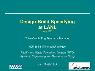 Design-Build Specifying  at LANL May, 2003