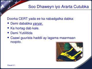 Soo Dhaweyn iyo Ararta Cutubka