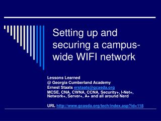 Setting up and securing a campus-wide WIFI network