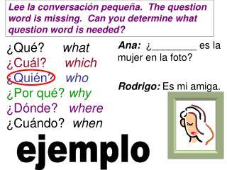 ¿Qué?      what ¿Cuál?      which ¿Quién?    who ¿Por qué?  why ¿Dónde?    where ¿Cuándo?   when